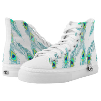 Trendy Peacock Feather Pattern High Tops