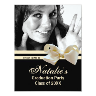 Trendy Pearl Bow Graduation Party Photo Invitation