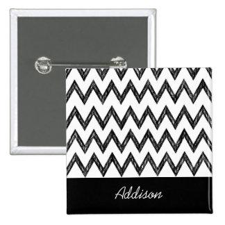 Trendy Pencil Black and White Chevron With Name 15 Cm Square Badge