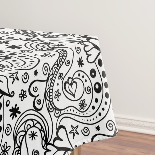 Trendy Personalised Hearts and Love Doodle Pattern Tablecloth