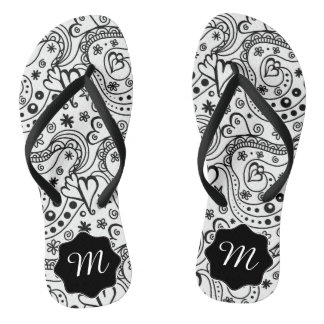 Trendy Personalized Hearts and Love Doodle Pattern Flip Flops