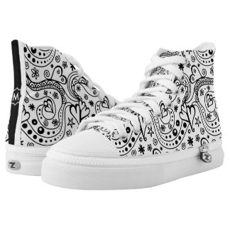Trendy Personalized Hearts and Love Doodle Pattern High Tops
