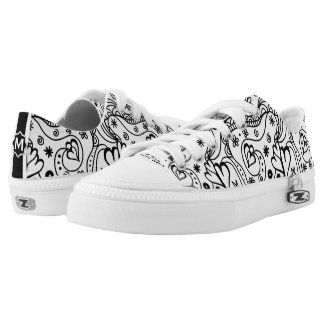 Trendy Personalized Hearts and Love Doodle Pattern Low Tops