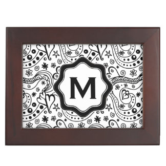 Trendy Personalized Hearts and Love Doodle Pattern Memory Boxes