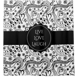 Trendy Personalized Hearts and Love Doodle Pattern Shower Curtain