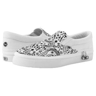 Trendy Personalized Hearts and Love Doodle Pattern Slip-On Shoes