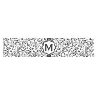 Trendy Personalized Hearts Love Monogram Pattern Short Table Runner