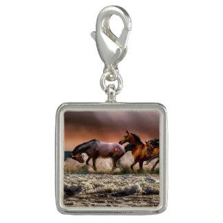 Trendy Photo Charm Bracelet Running Horses