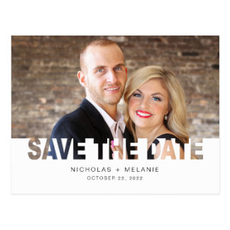 Trendy Photo Save the Date cutout Postcard