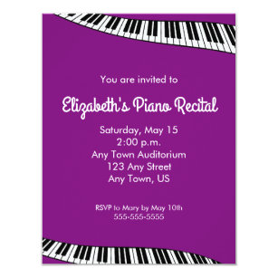 Trendy Piano Keyboard Recital Invitation