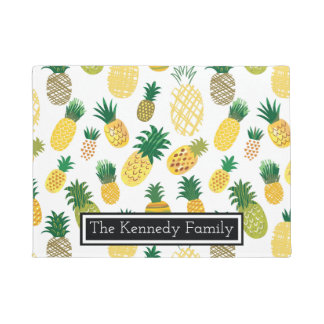 Trendy Pineapple Pattern | Add Your Name Doormat
