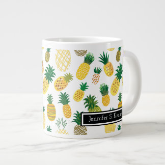 Trendy Pineapple Pattern | Add Your Name Large Coffee Mug