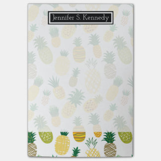 Trendy Pineapple Pattern | Add Your Name Post-it Notes