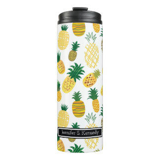 Trendy Pineapple Pattern | Add Your Name Thermal Tumbler