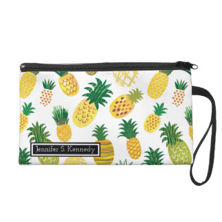Trendy Pineapple Pattern | Add Your Name Wristlet