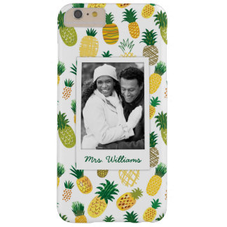 Trendy Pineapple Pattern | Add Your Photo & Name Barely There iPhone 6 Plus Case
