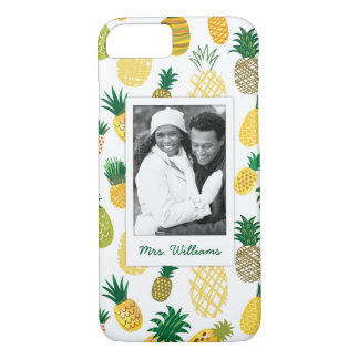 Trendy Pineapple Pattern | Add Your Photo & Name iPhone 8/7 Case