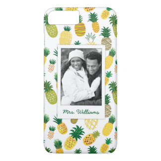 Trendy Pineapple Pattern | Add Your Photo & Name iPhone 8 Plus/7 Plus Case