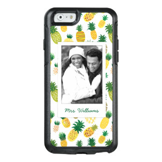 Trendy Pineapple Pattern | Add Your Photo & Name OtterBox iPhone 6/6s Case