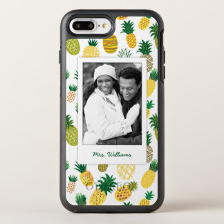 Trendy Pineapple Pattern | Add Your Photo & Name OtterBox Symmetry iPhone 7 Plus Case