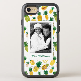 Trendy Pineapple Pattern | Add Your Photo & Name OtterBox Symmetry iPhone 8/7 Case