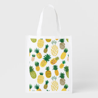 Trendy Pineapple Pattern Reusable Grocery Bag