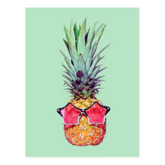 Trendy pineapple postcard