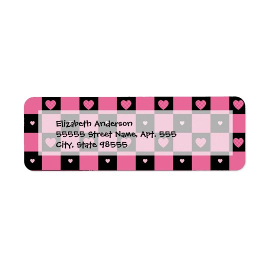 Trendy Pink and Black Chequered Hearts Return Address Label