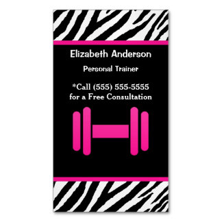 Trendy Pink and Black Dumbbell Personal Trainer Magnetic Business Card