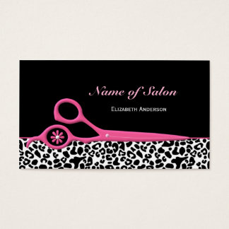 Trendy Pink and Black Leopard Hair Salon Scissors Business Card