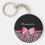 Trendy Pink And Black Leopard Hot Pink Ribbon
