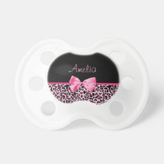 Trendy Pink And Black Leopard Hot Pink Ribbon Baby Pacifiers