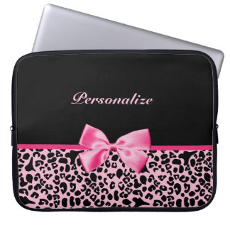 Trendy Pink And Black Leopard Hot Pink Ribbon Laptop Sleeve