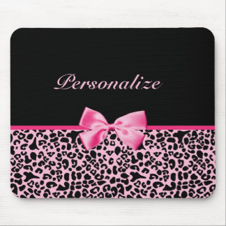 Trendy Pink And Black Leopard Hot Pink Ribbon Mouse Mat