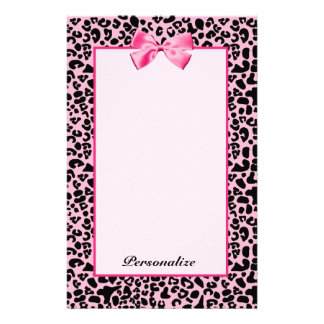Trendy Pink And Black Leopard Hot Pink Ribbon Personalized Stationery