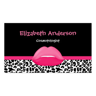 Trendy Pink and Black Leopard Makeup Artist Lips Pack Of Standard Business Cards