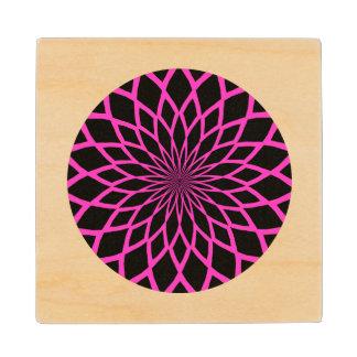 Trendy Pink and Black Modern Sunburst Pattern Wood Coaster
