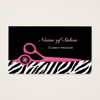 Trendy Pink and Black Zebra Hair Salon Scissors Business Card