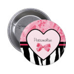 Trendy Pink and Black Zebra Pattern Bow and Name Badge