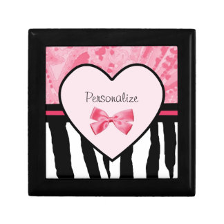 Trendy Pink and Black Zebra Pattern Bow and Name Gift Box