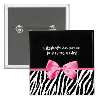 Trendy Pink And Black Zebra Print Girl Baby Shower 15 Cm Square Badge