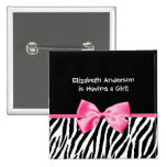 Trendy Pink And Black Zebra Print Girl Baby Shower Buttons