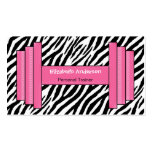 Trendy Pink And Black Zebra Print Personal Trainer Business Cards
