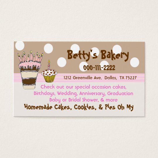 Trendy Pink and Brown Bakery Business Card