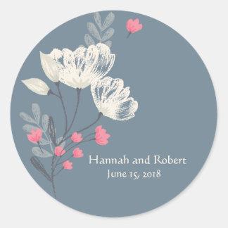 Trendy Pink And Cream Wedding Round Sticker