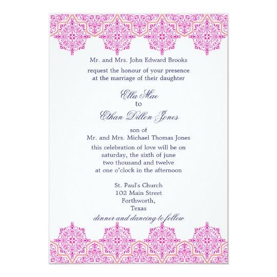 Trendy Pink And Orange Damask Wedding Invitations Zazzle