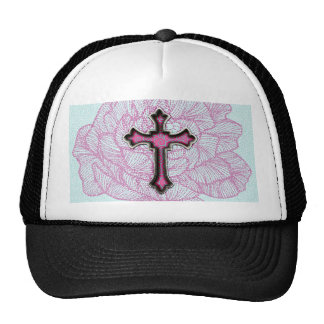 Trendy Pink and White Floral Cross Cap