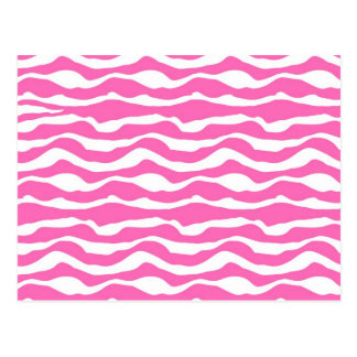 Trendy Pink and White Zebra Striped Pattern Postcard