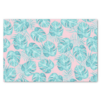 Trendy pink aqua watercolor tropical monster leave tissue paper