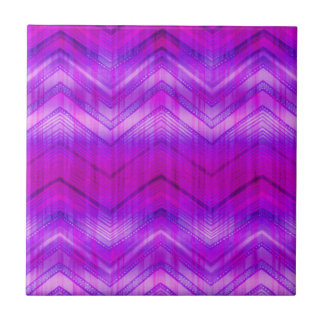 Trendy Pink Blue Girly Zigzag Stripes Pattern Ceramic Tile